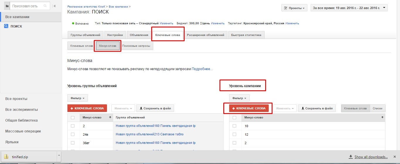 Перенос минус слов на кампанию из Яндекса в Гугл